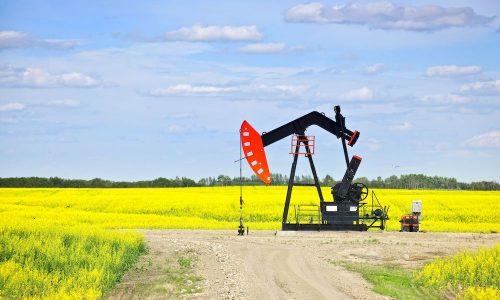 Oil pumpjack unit in Saskatchewan, Canada